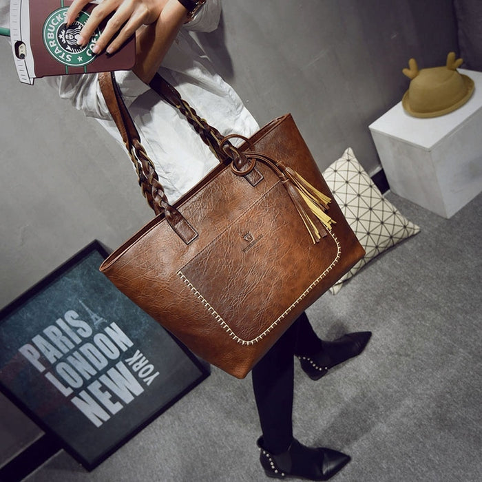 Leather Messenger Large Capacity Women Bag With Tassel