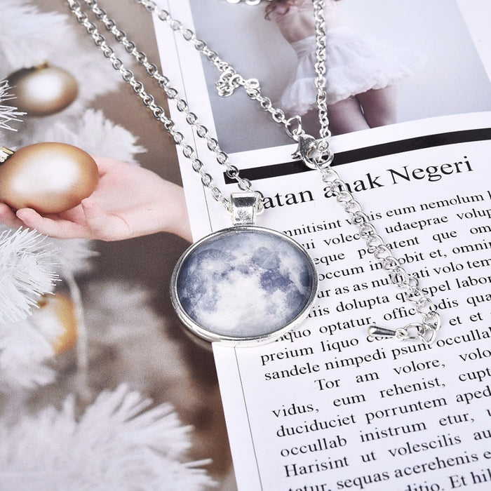 Glow  in the Dark Galaxy Moon Necklace with Pendant