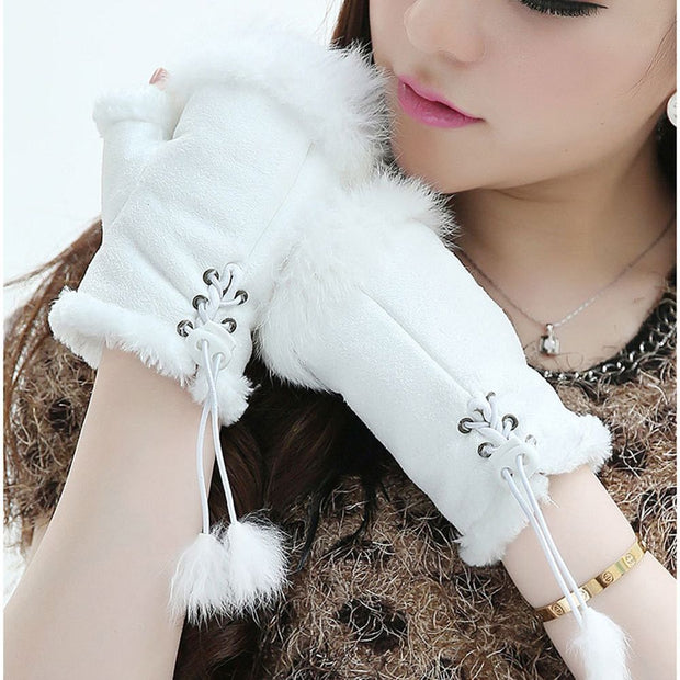 Solid Rabbit Fur Solid Gloves