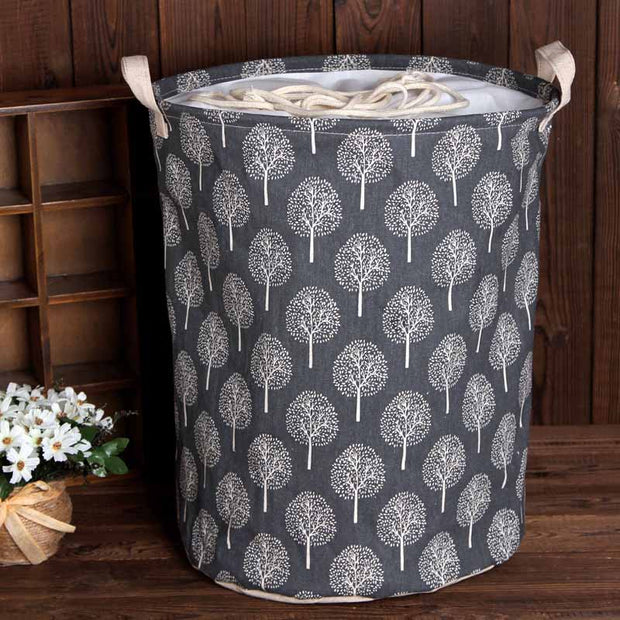 Large Canvas Bucket Drawstring Beam Port Dirty Clothes Laundry Foldable Storage Organizer Household Sundries Bag