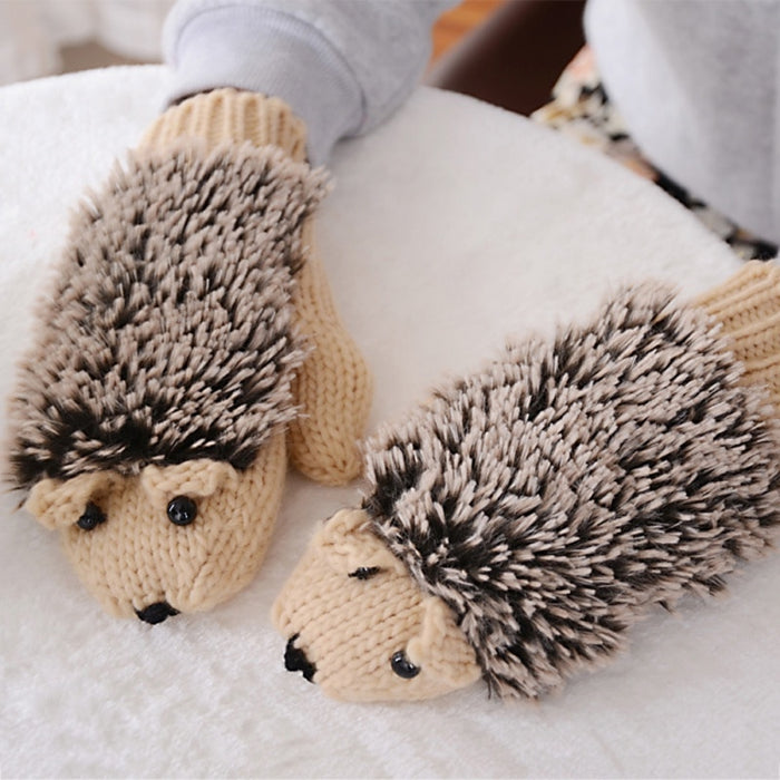 Knitted Mittens Hedgehog Winter Gloves