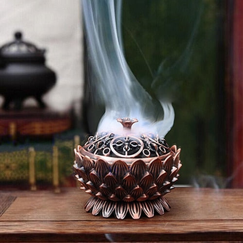 Lotus Shape Zinc-copper Alloy Incense Burner Brass Mini Sandalwood Censer