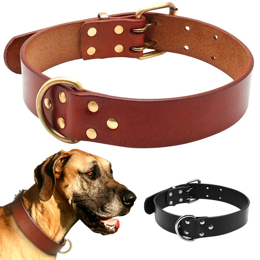 Luxury Best Genuine Leather Pet Dog Collars For Pit bull German Shepherd Labrador with Durable D ring & Buckle S/M/L/XL Black