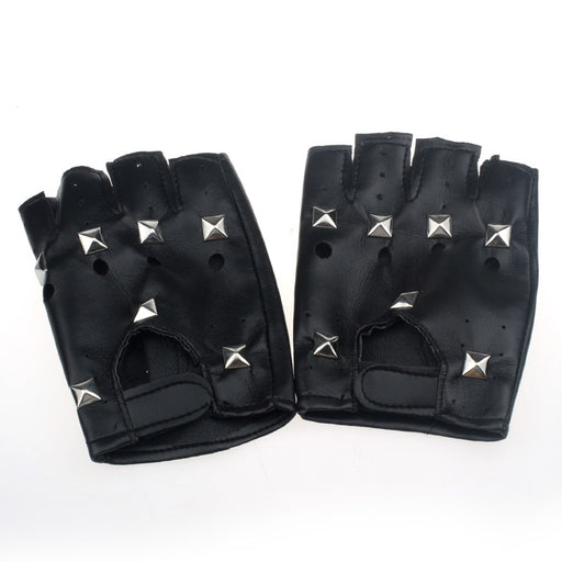 Leather Theatrical Punk Hip-Hop Gloves