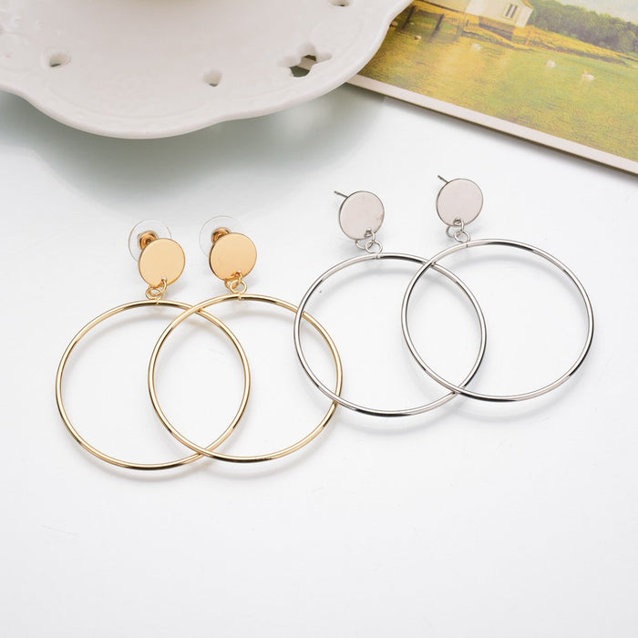 Gold Sliver Geometric Big Round Earrings