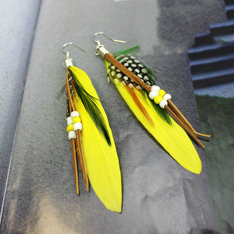 Bohemian  dangling    Feather beads Earrings - Toyzor.com