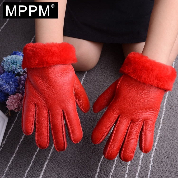 Winter Genuine Leather Fur Gloves For Adult and Kids