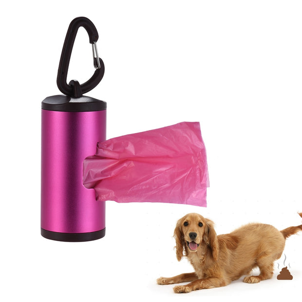 Multi-color High Quality Pet Poop Holder Dog Waste Dispenser Aluminum Tube Includes 15pcs Waste Bags with Portable Holder