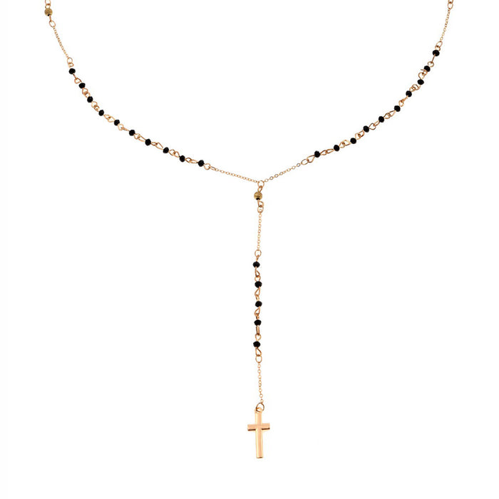 Long Rosary Beads Cross Pendant Necklace