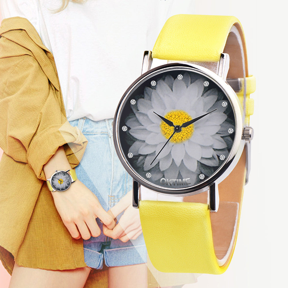 Flower Casual Leather Wrist Watch