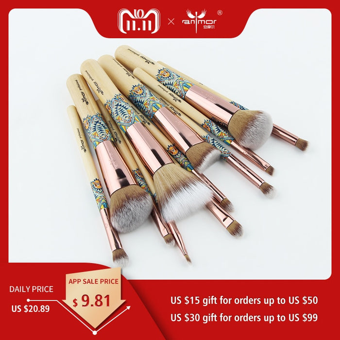 12 Pieces Set Soft Synthetic Bamboo Make Up Brush - Toyzor.com