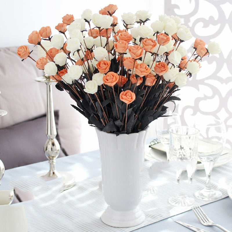 15 Heads/piece Rose Artificial Flowers for Wedding Decor flower arrangement