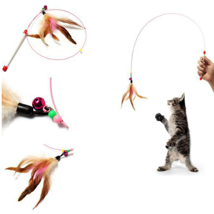 Feather Teaser Wand Plastic Toy for Cats