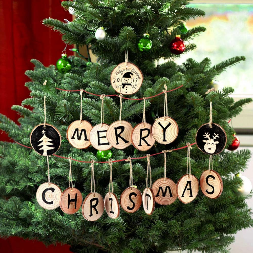 10pcs Round Wood Slices Art Craft Ornaments DIY Christmas Tree Decoration