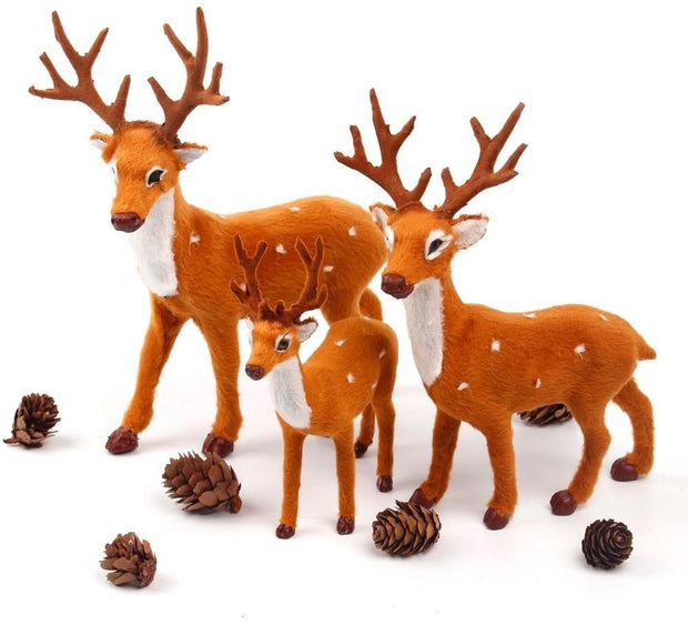Simulated Plush Reindeer Furry Deer 2018 Merry Christmas Decor for Home Christmas Ornament