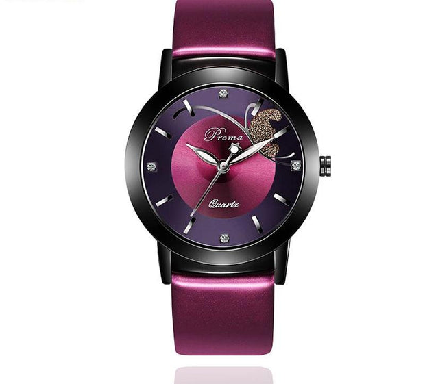 Purple Leather Wristwatch
