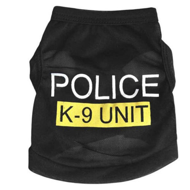 Dog Clothes Police Printed Vest Costumes Summer Coat Letter Printed Outerwear Clothing