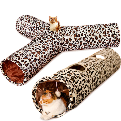 Pet Tunnel 3 Holes Leopard Crinkle Kitten Play Toy with Ball Collapsible