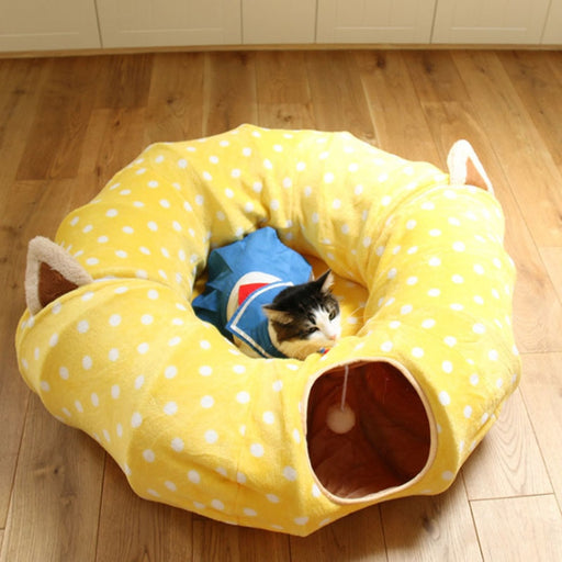 Pet Tunnel Tubes Collapsible House Play Toy with Ball