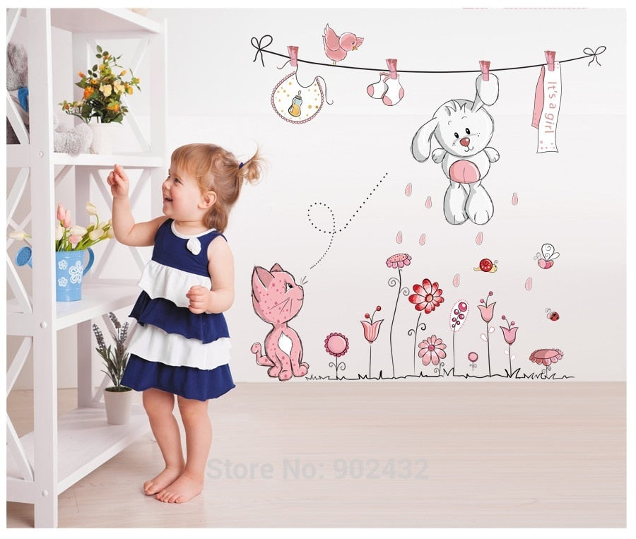 Cat Rabbit Flower Wall Sticker - Toyzor.com