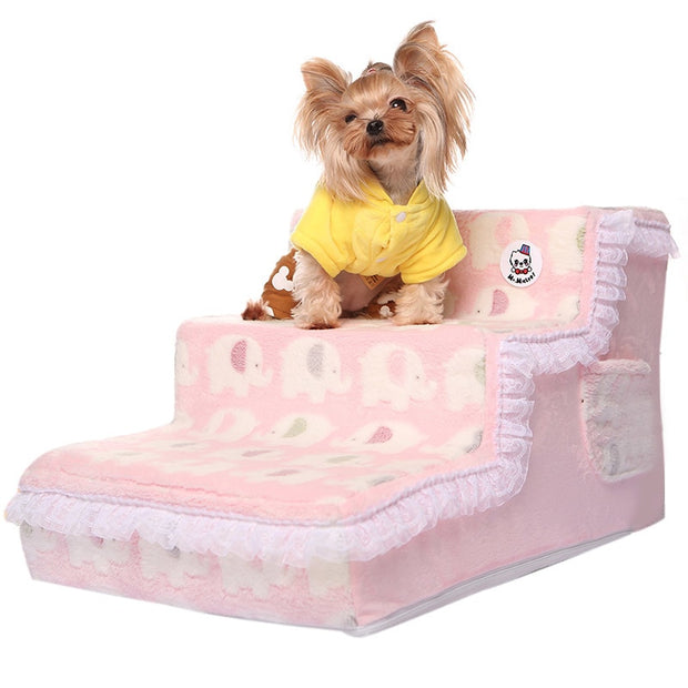 Princess Lace Pet Beds Stairs Dog Ramp Removable Washable Soft Plush Cover