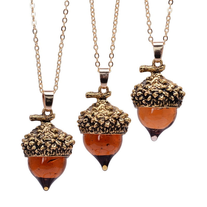 Glass Crystal Acorn Oak Water Drop Necklace for Women