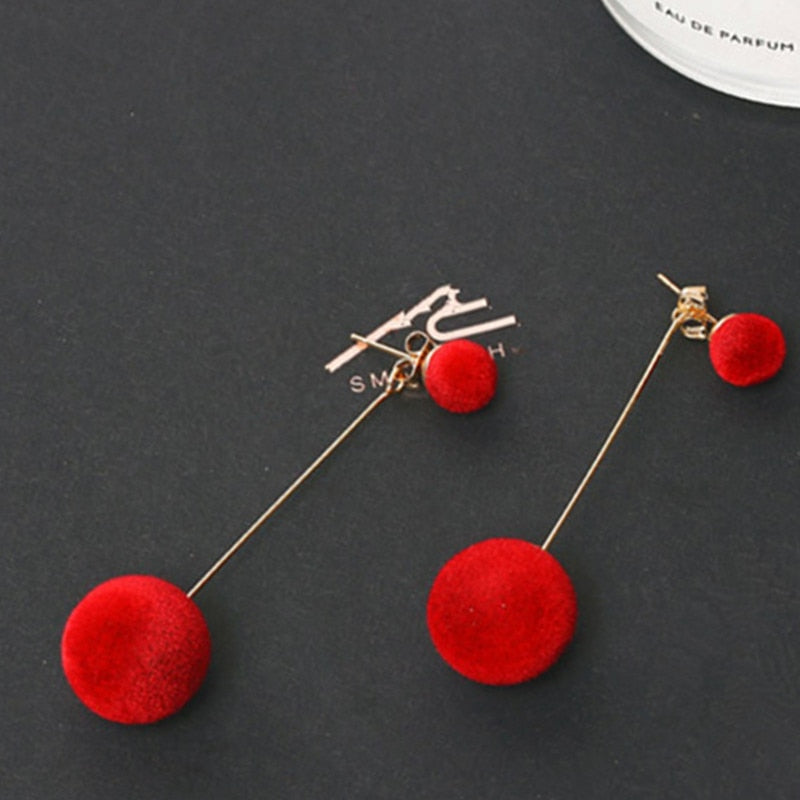 Red Black Plush Ball Drop Earrings