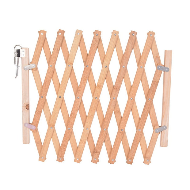 Retractable Bamboo Fence Playpen For Dog Indoor Wood Stair Fence Pet Isolating Gate