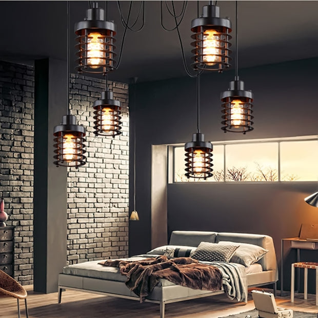 Retro Indoor Vintage Pendant Light Metal Minimalist LED Hanging Lights Rust Iron Cage Lampshade