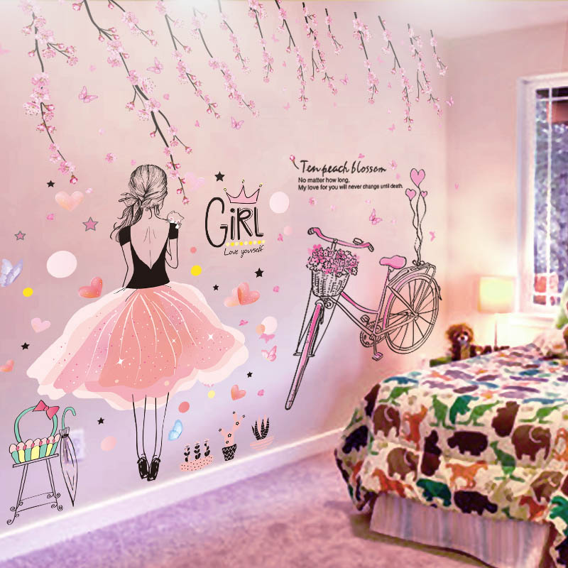 Girl's Room - Cartoon Girl Wall Sticker - Toyzor.com