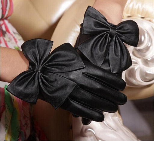 Leather Butterfly Bow Wrist Gloves
