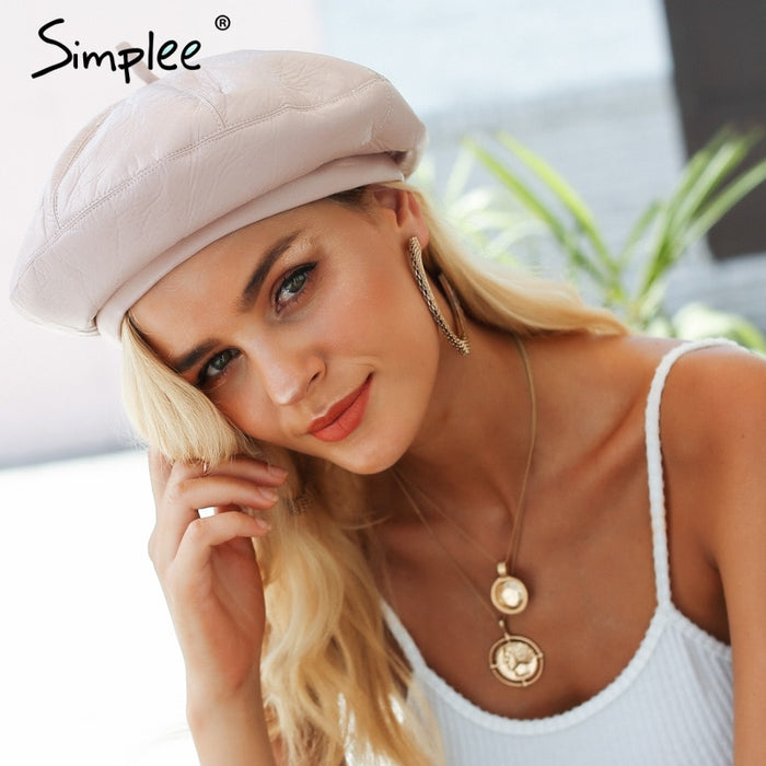Leather Beret Hats for Women