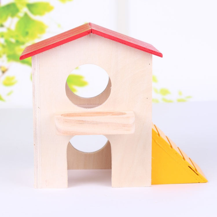 Solid Wood Double Layer Hamster House Modeling Lovely Colorful with Stairs Can Grind Teeth