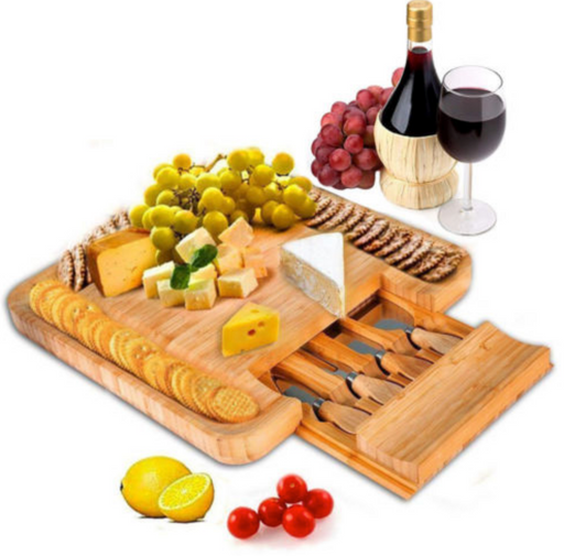100% Natural Bamboo Cheese Board & Cutlery Set with Slide-Out Drawer - Toyzor.com