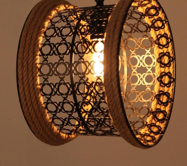 Rope Pendant Lamp Weave Village Restaurant Bar Cafe Vintage Waist Drum Edison Bulb Pendant Lights
