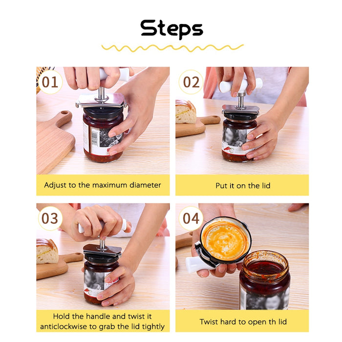 Adjustable Twist Jar Opener Spiral Can Seal Lid Remover