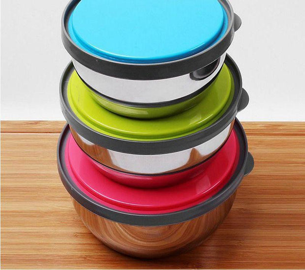 Food Bowl Set with lids  With Bright Color Silicone lids