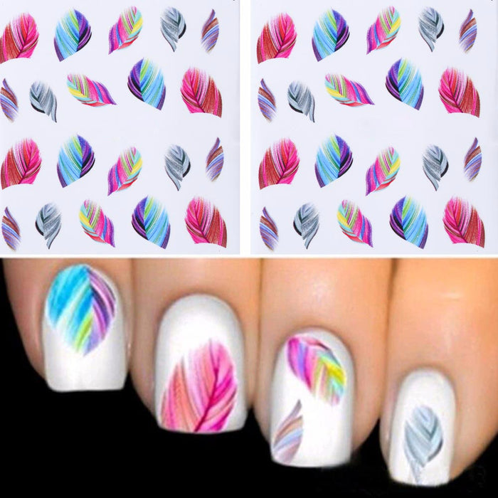 1PC fashionable Feather Water Nail art stickers - Toyzor.com