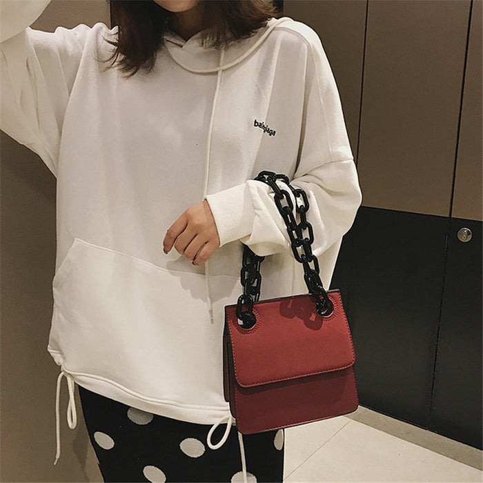 2018 New Acrylic Chain Small Shoulder Bag Nubuck Leather Women Handbags
