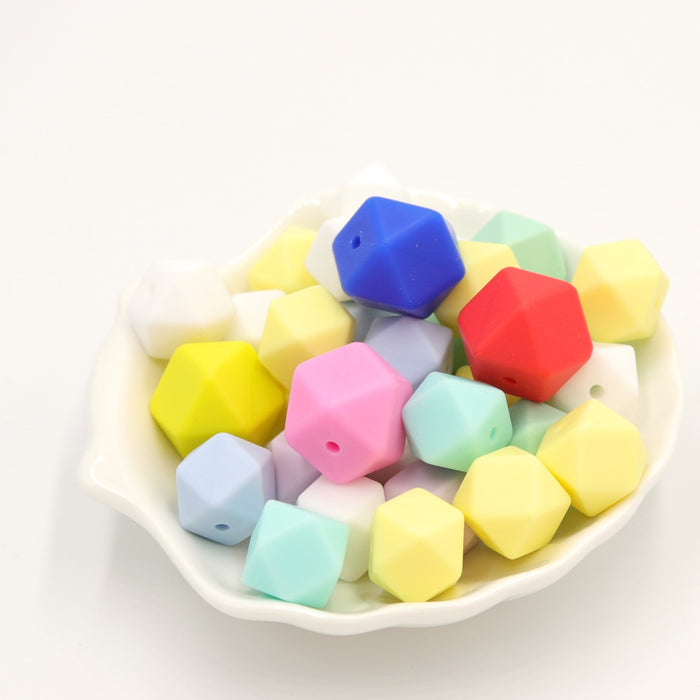 10 Pieces 14mm Hexagon Silicone Beads Teether