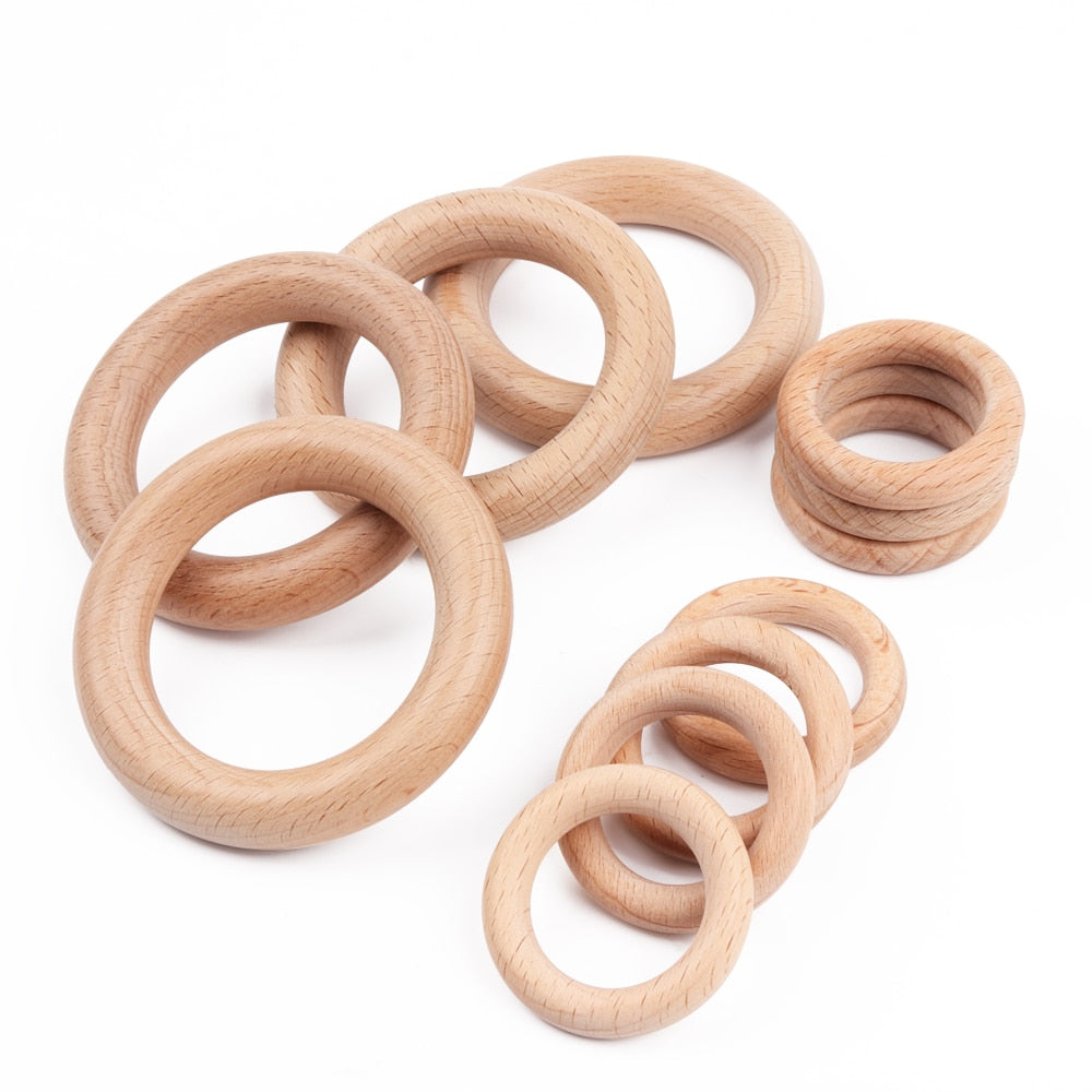 5 Pieces 40mm/70mm Beech Wooden Baby Teething Rings
