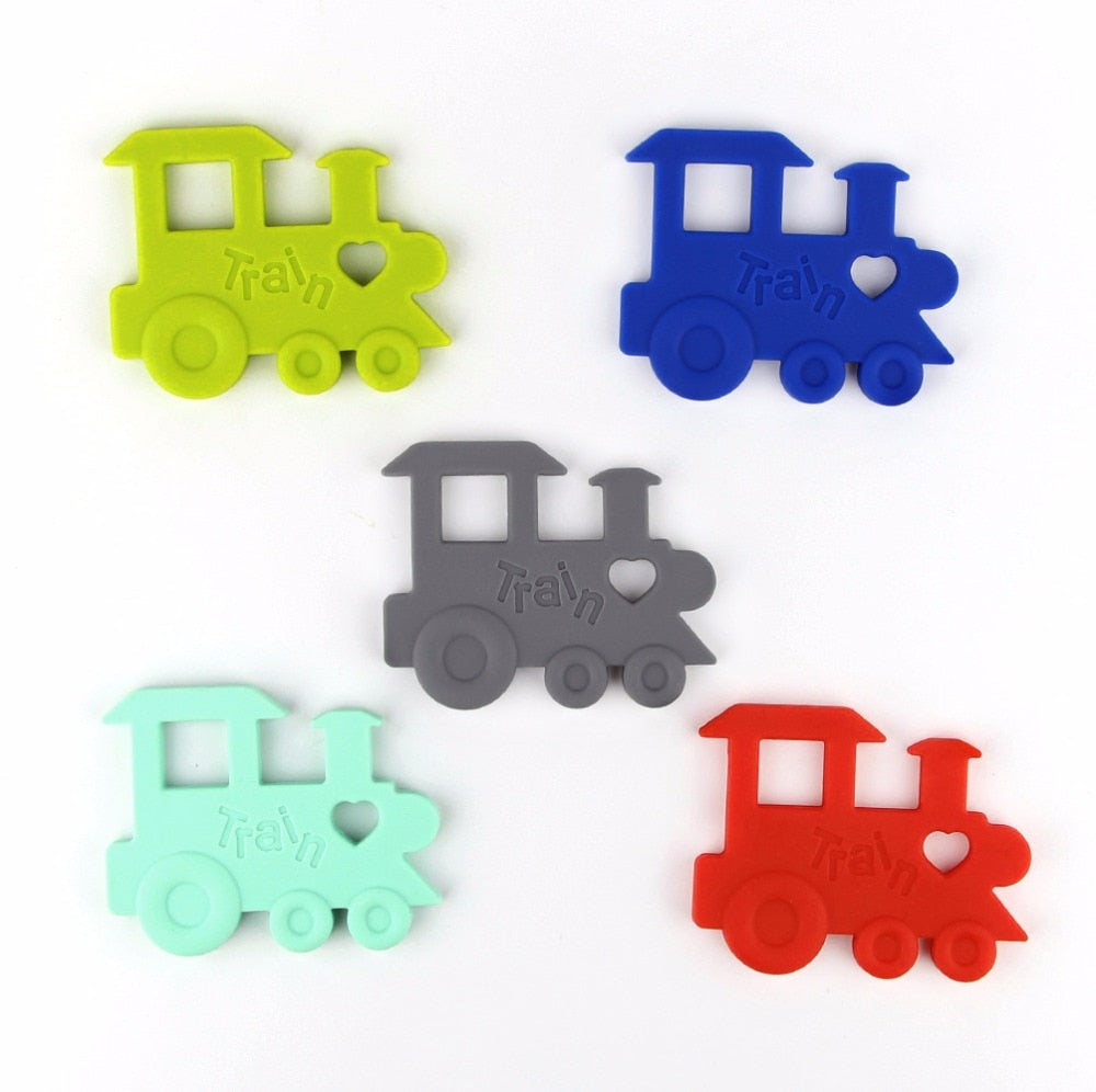 Teether Silicone Train Baby Teething Toys Chewable Pendant BPA Free Safe Beads For Baby