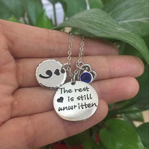 """The rest is still unwritten"" Semicolon Necklace - Toyzor.com"