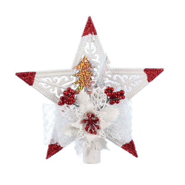 White Christmas Home Door Window Ornaments Christmas Tree Hanging Decor Diamond Pentagonal Tree Top Star