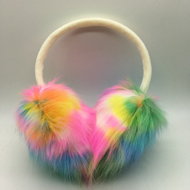 Outdoor Colorful Winter Faux Fur Earmuffs