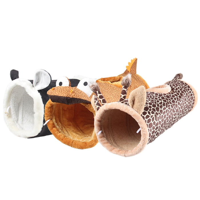Short Plush Pet Training Toys Collapsible Crinkle Play Tunnels Tubes 3 Holes Rabbit Cave