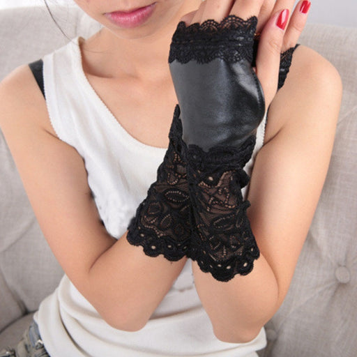 Leather Sexy Black Lace Patchwork Winter Gloves