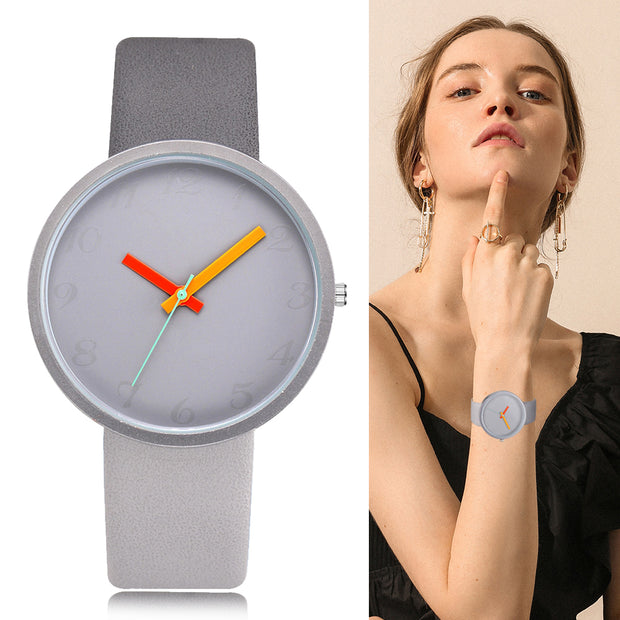Contrast Leather Quartz  Watch - Multiple Colors
