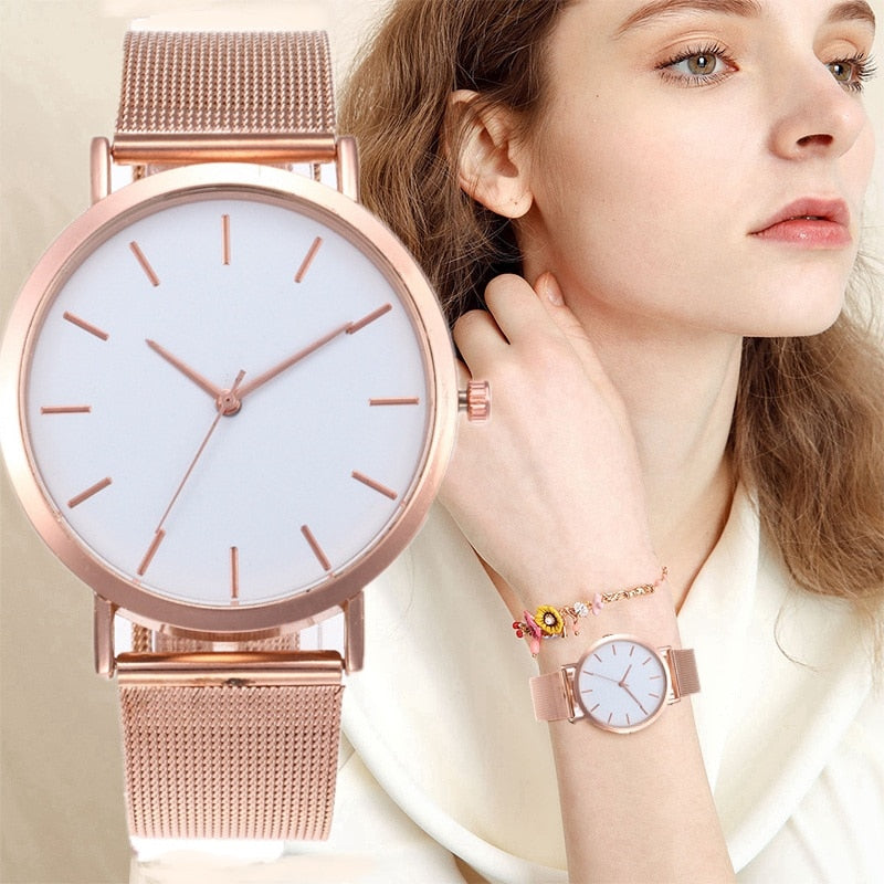 Rose Gold Silver Watch