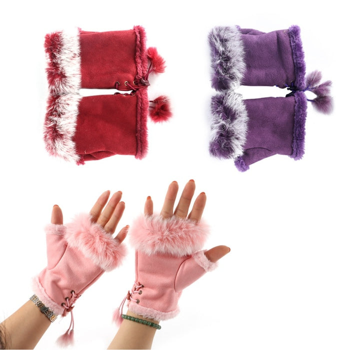 Rabbit Fur Hand Wrist Warmer